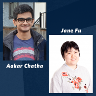 Headshots of Aakar and Jane, undergraduate award winners for the CIC Awards in Chemistry
